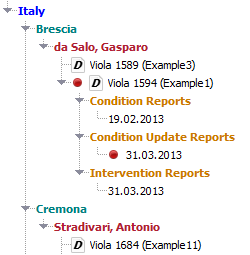 Opened reports in data tree